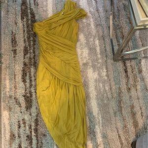Halston Heritage Chartreuse Sheer Bandage Dress